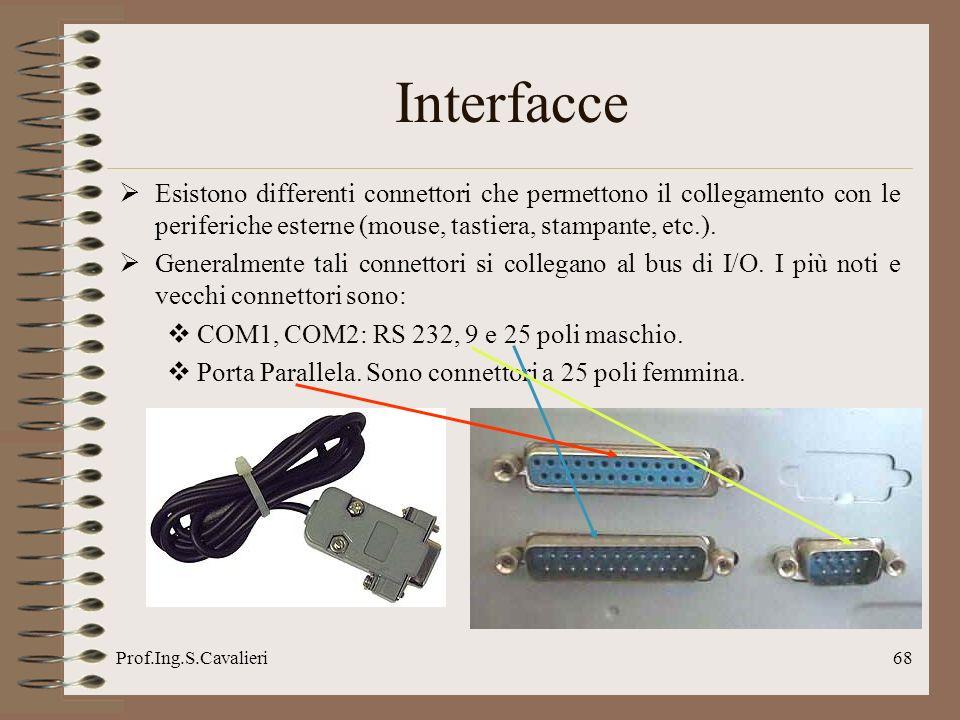 Prof.Ing.S.Cavalieri68 Interfacce Esistono differenti connettori che permettono il collegamento con le periferiche esterne (mouse, tastiera, stampante