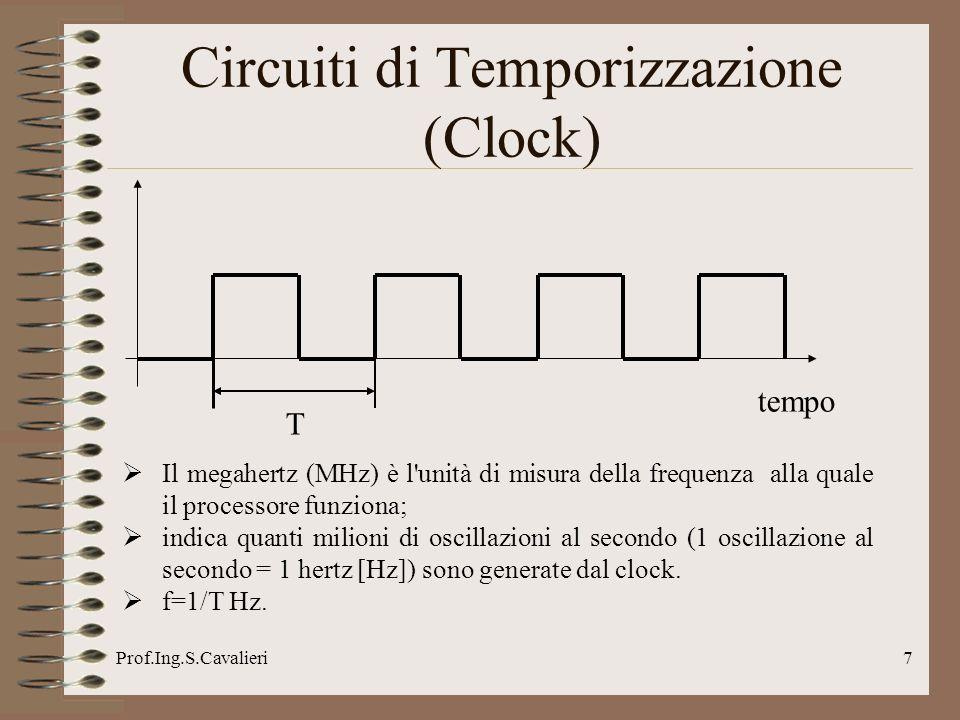 Prof.Ing.S.Cavalieri8 Circuiti di Temporizzazione (Clock) In generale il clock é prodotto da un apposito circuito integrato, la cui oscillazione é controllata da un cristallo di quarzo.