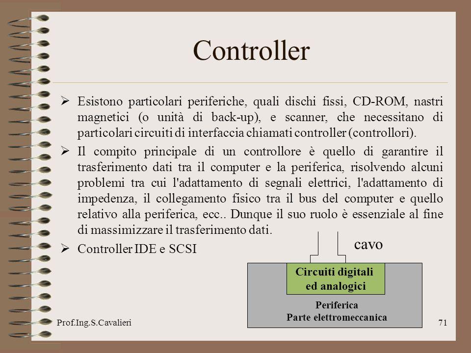 Prof.Ing.S.Cavalieri71 Controller Esistono particolari periferiche, quali dischi fissi, CD-ROM, nastri magnetici (o unità di back-up), e scanner, che