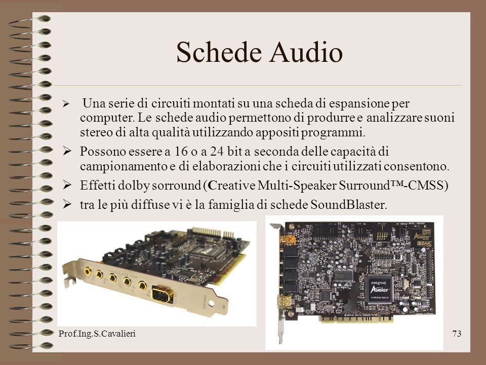 Prof.Ing.S.Cavalieri73 Schede Audio Una serie di circuiti montati su una scheda di espansione per computer. Le schede audio permettono di produrre e a