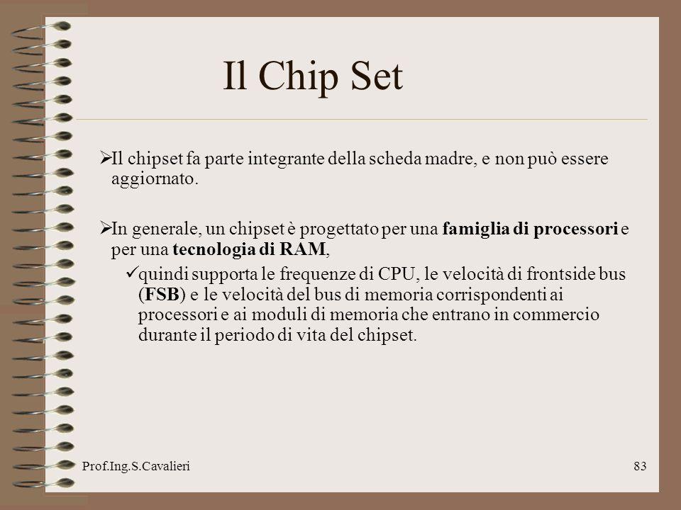 Prof.Ing.S.Cavalieri83 Il Chip Set Il chipset fa parte integrante della scheda madre, e non può essere aggiornato. In generale, un chipset è progettat