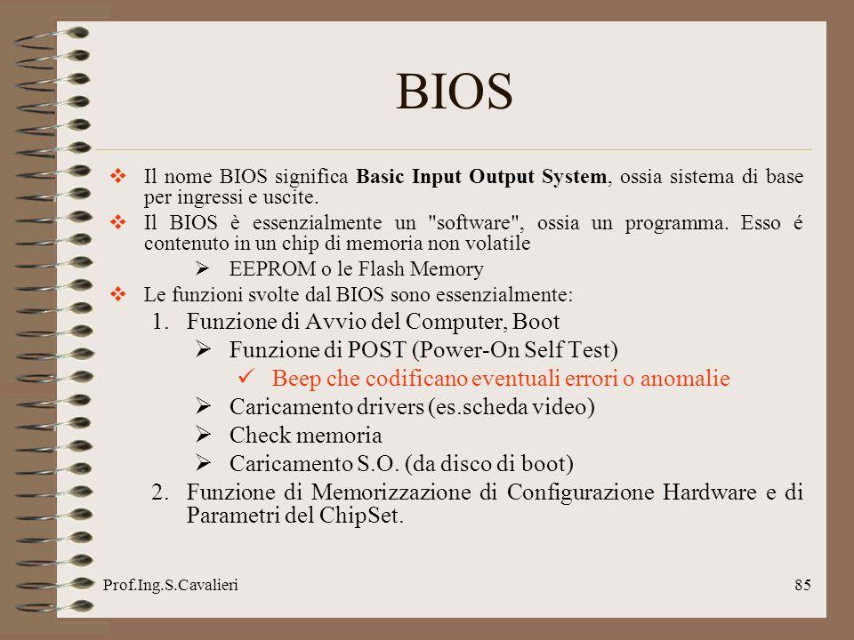 Prof.Ing.S.Cavalieri85 BIOS Il nome BIOS significa Basic Input Output System, ossia sistema di base per ingressi e uscite. Il BIOS è essenzialmente un