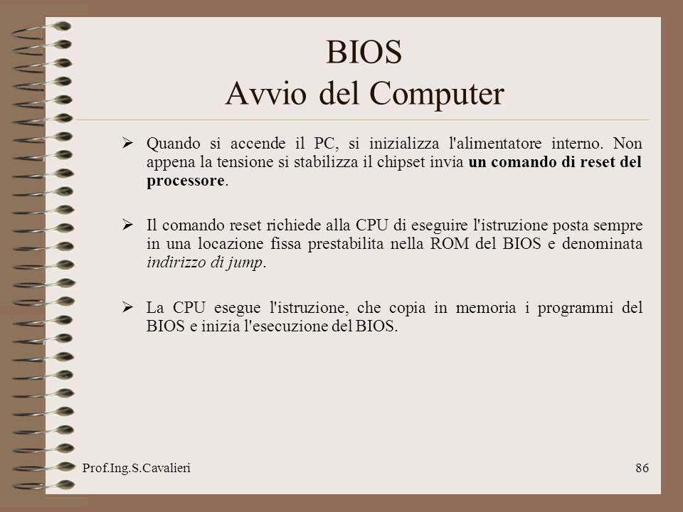 Prof.Ing.S.Cavalieri86 BIOS Avvio del Computer Quando si accende il PC, si inizializza l'alimentatore interno. Non appena la tensione si stabilizza il