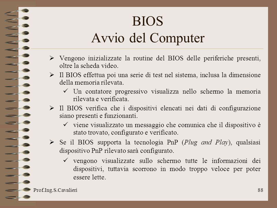 Prof.Ing.S.Cavalieri88 Vengono inizializzate la routine del BIOS delle periferiche presenti, oltre la scheda video. Il BIOS effettua poi una serie di