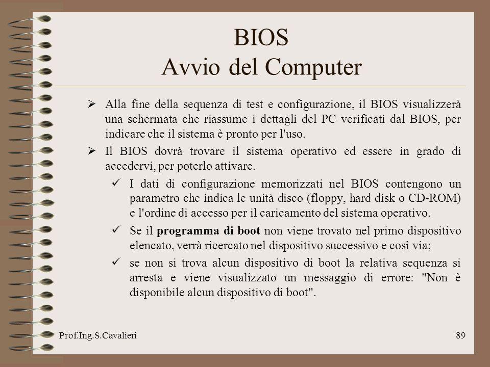 Prof.Ing.S.Cavalieri89 BIOS Avvio del Computer Alla fine della sequenza di test e configurazione, il BIOS visualizzerà una schermata che riassume i de