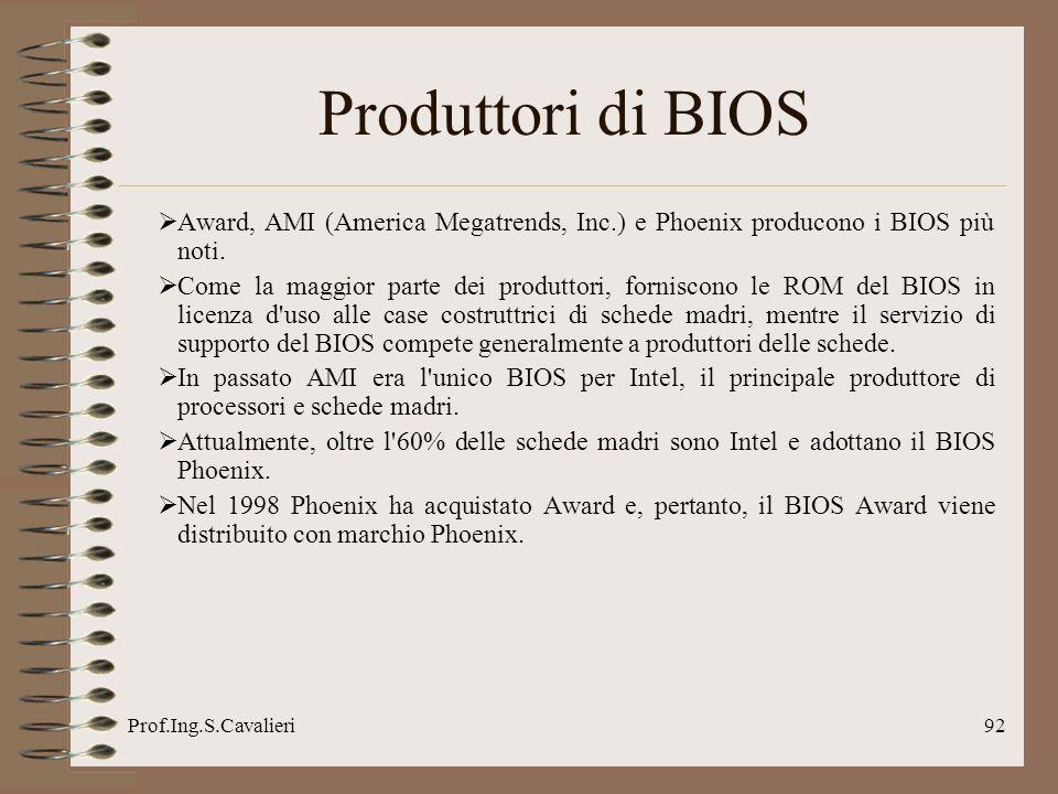Prof.Ing.S.Cavalieri92 Produttori di BIOS Award, AMI (America Megatrends, Inc.) e Phoenix producono i BIOS più noti. Come la maggior parte dei produtt