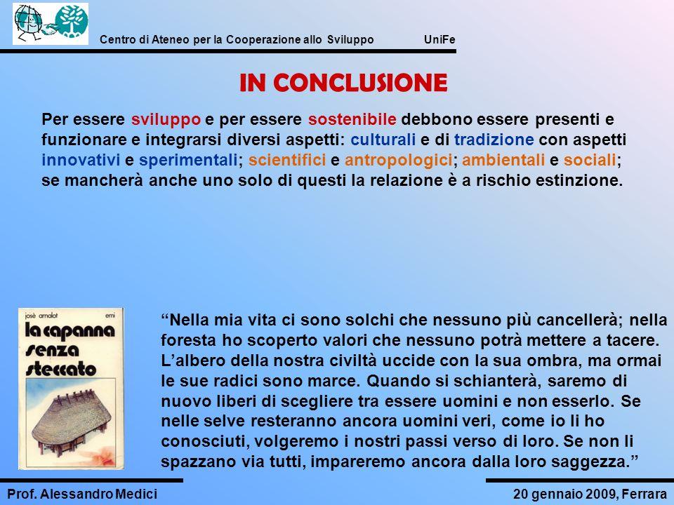 Centro di Ateneo per la Cooperazione allo Sviluppo UniFe Prof. Alessandro Medici20 gennaio 2009, Ferrara IN CONCLUSIONE Nella mia vita ci sono solchi