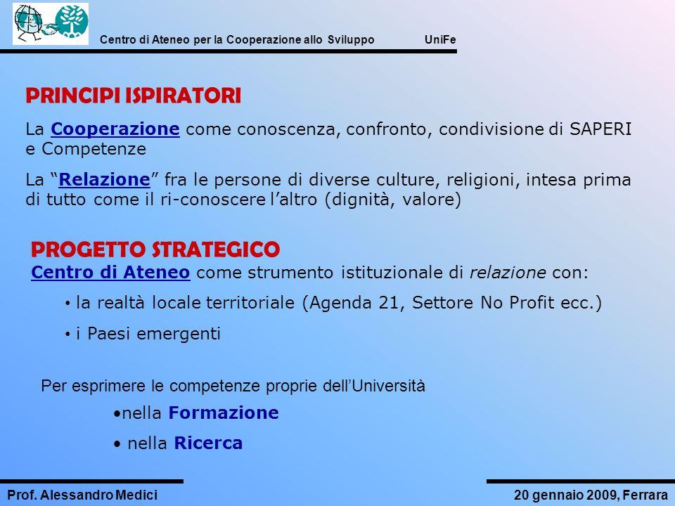 Centro di Ateneo per la Cooperazione allo Sviluppo UniFe Prof. Alessandro Medici20 gennaio 2009, Ferrara PRINCIPI ISPIRATORI La Cooperazione come cono