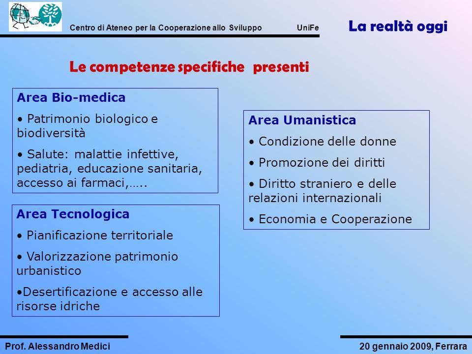 Centro di Ateneo per la Cooperazione allo Sviluppo UniFe Prof. Alessandro Medici20 gennaio 2009, Ferrara Area Bio-medica Patrimonio biologico e biodiv