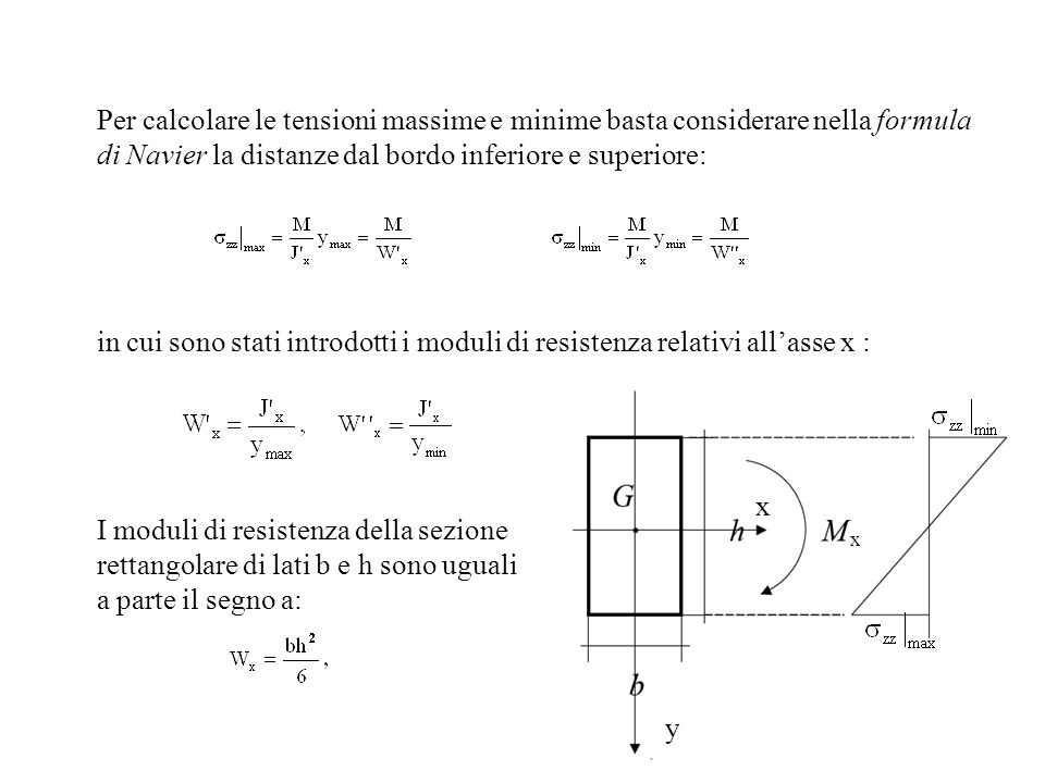 Per calcolare le tensioni massime e minime basta considerare nella formula di Navier la distanze dal bordo inferiore e superiore: in cui sono stati in