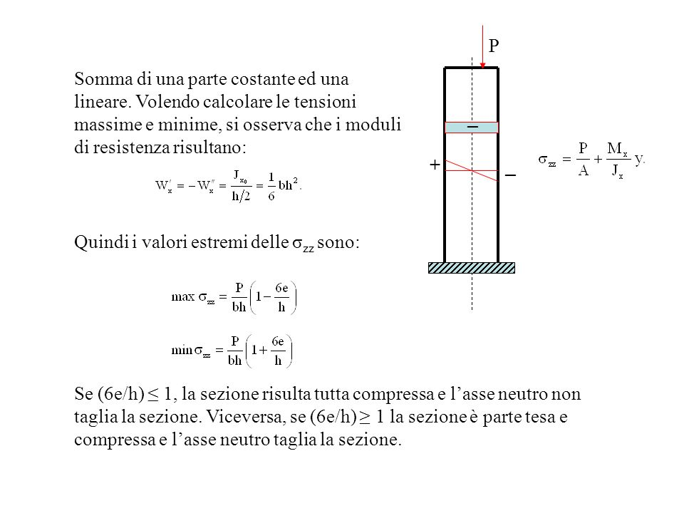 Somma di una parte costante ed una lineare. Volendo calcolare le tensioni massime e minime, si osserva che i moduli di resistenza risultano: P Quindi
