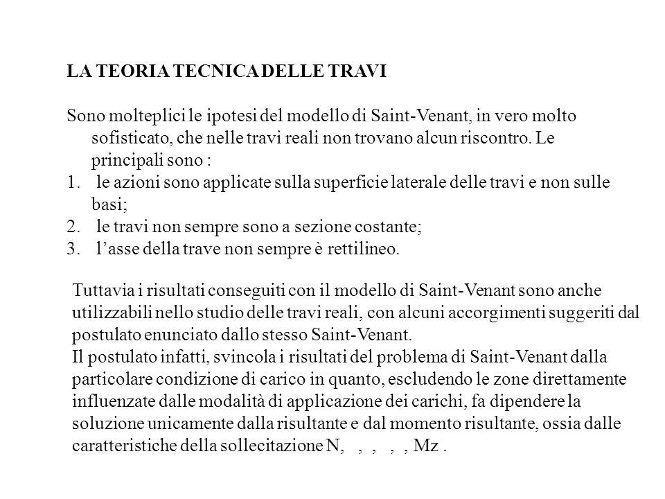 LA TEORIA TECNICA DELLE TRAVI Sono molteplici le ipotesi del modello di Saint-Venant, in vero molto sofisticato, che nelle travi reali non trovano alc