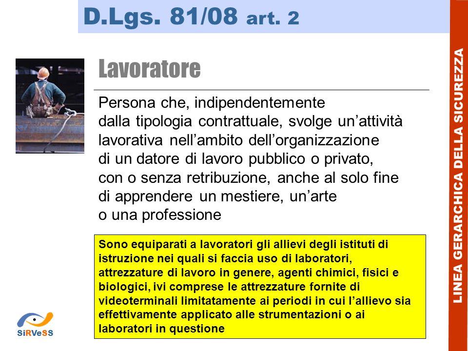 D.Lgs. 81/08 art. 2 LINEA GERARCHICA DELLA SICUREZZA Lavoratore Persona che, indipendentemente dalla tipologia contrattuale, svolge unattività lavorat