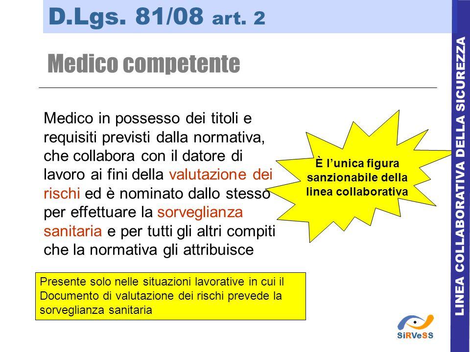 LINEA COLLABORATIVA DELLA SICUREZZA D.Lgs. 81/08 art. 2 Medico competente Medico in possesso dei titoli e requisiti previsti dalla normativa, che coll