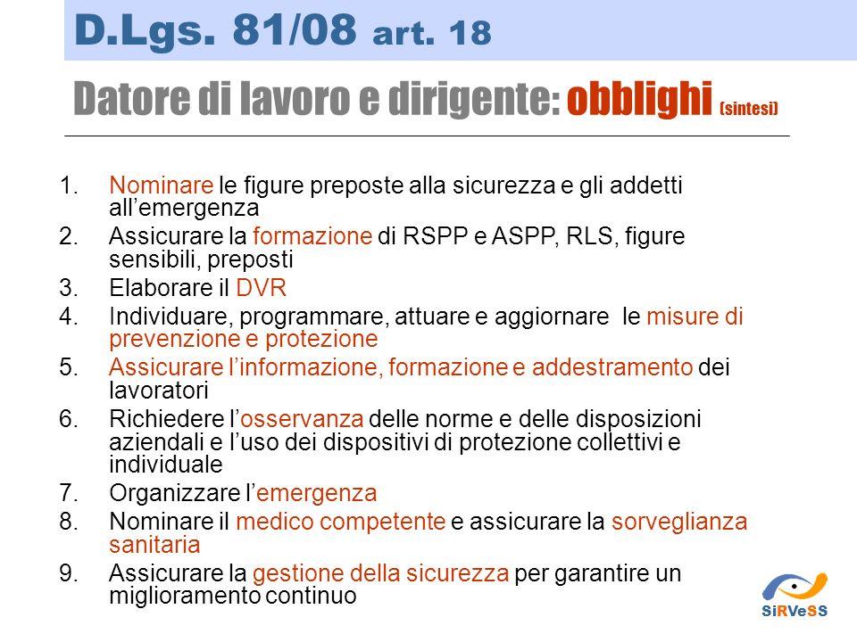 Datore di lavoro e dirigente: obblighi (sintesi) D.Lgs. 81/08 art. 18 1.Nominare le figure preposte alla sicurezza e gli addetti allemergenza 2.Assicu