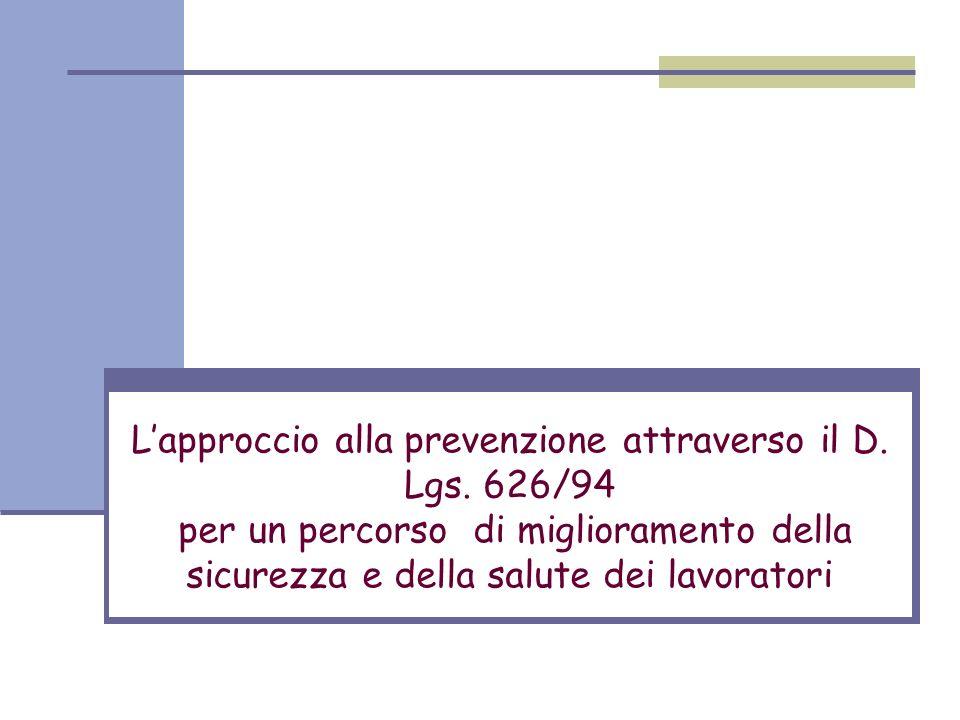 Lapproccio alla prevenzione attraverso il D. Lgs. 626/94 per un percorso di miglioramento della sicurezza e della salute dei lavoratori