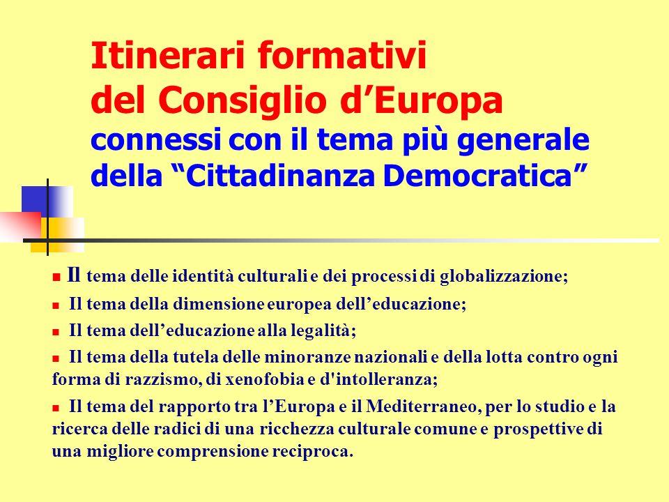 Itinerari formativi del Consiglio dEuropa connessi con il tema più generale della Cittadinanza Democratica Il tema delle identità culturali e dei proc