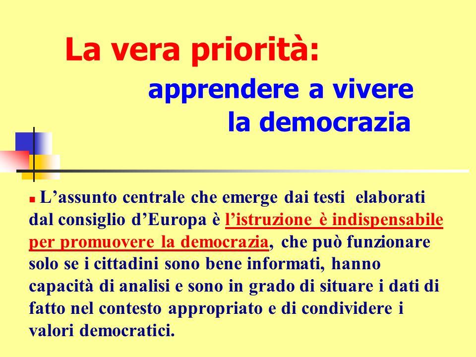 La vera priorità: apprendere a vivere la democrazia Lassunto centrale che emerge dai testi elaborati dal consiglio dEuropa è listruzione è indispensab