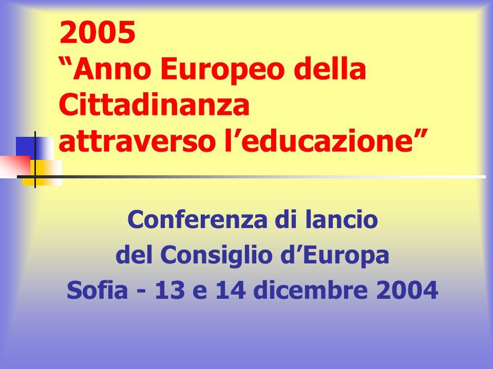 2005 Anno Europeo della Cittadinanza attraverso leducazione Punto 10 del Comunicato finale e piano dazione Lapprendimento della democrazia è un processo che dura tutta la vita e che riguarda non soltanto la trasmissione delle conoscenze, ma anche la pratica della democrazia, attraverso lazione politica e sociale, la partecipazione alla presa di decisioni, il dibattito informato, la negoziazione e la ricerca di soluzioni pacifiche.