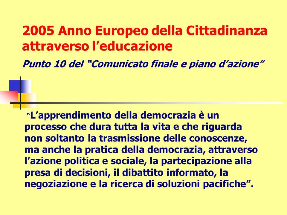 2005 Anno Europeo della Cittadinanza attraverso leducazione Punto 10 del Comunicato finale e piano dazione Lapprendimento della democrazia è un proces