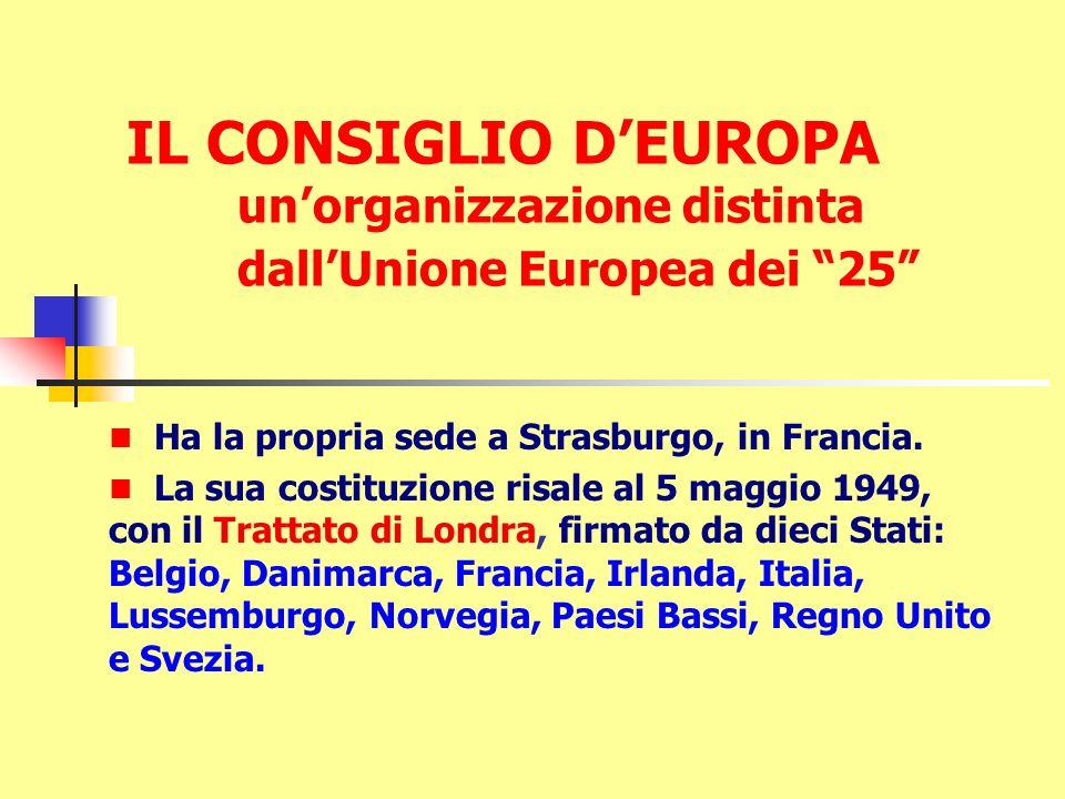 IL CONSIGLIO DEUROPA unorganizzazione distinta dallUnione Europea dei 25 Ha la propria sede a Strasburgo, in Francia. La sua costituzione risale al 5