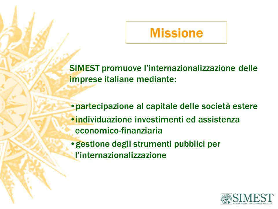 Missione SIMEST promuove linternazionalizzazione delle imprese italiane mediante: partecipazione al capitale delle società estere individuazione investimenti ed assistenza economico-finanziaria gestione degli strumenti pubblici per linternazionalizzazione