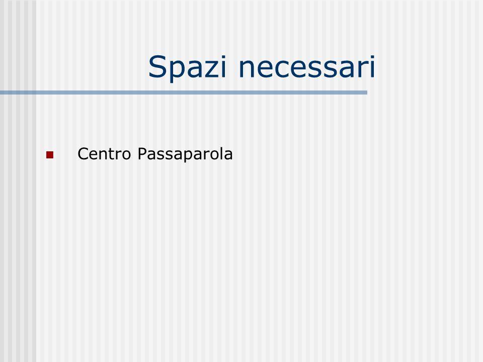 Spazi necessari Centro Passaparola