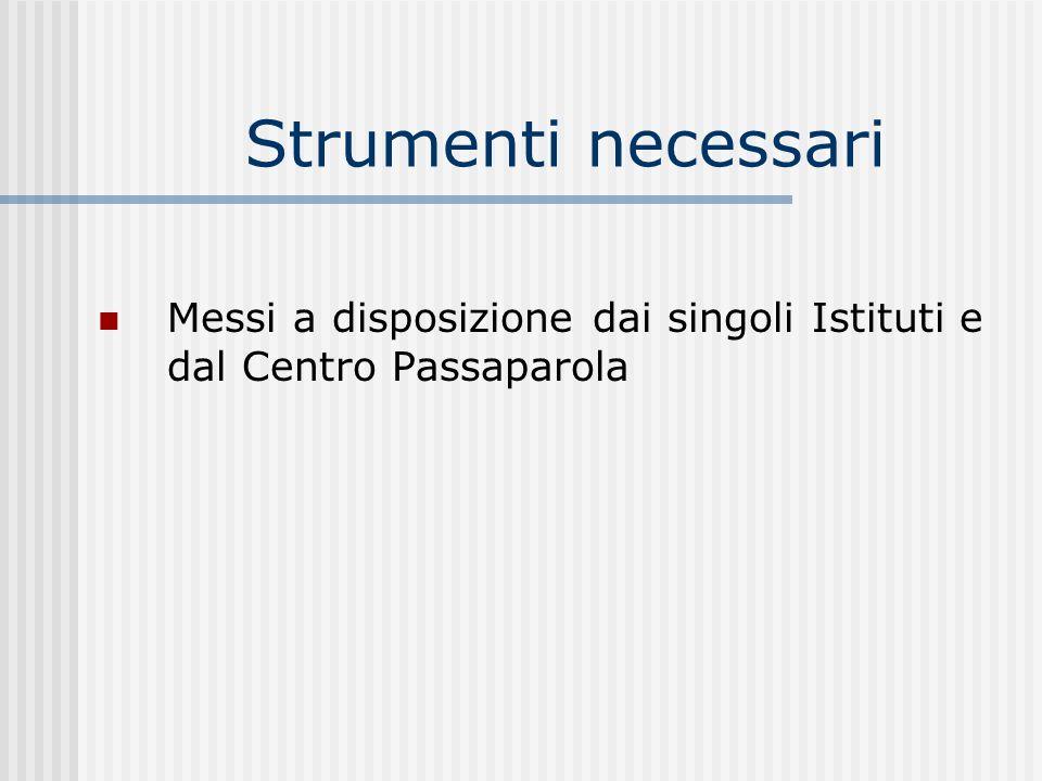 Strumenti necessari Messi a disposizione dai singoli Istituti e dal Centro Passaparola