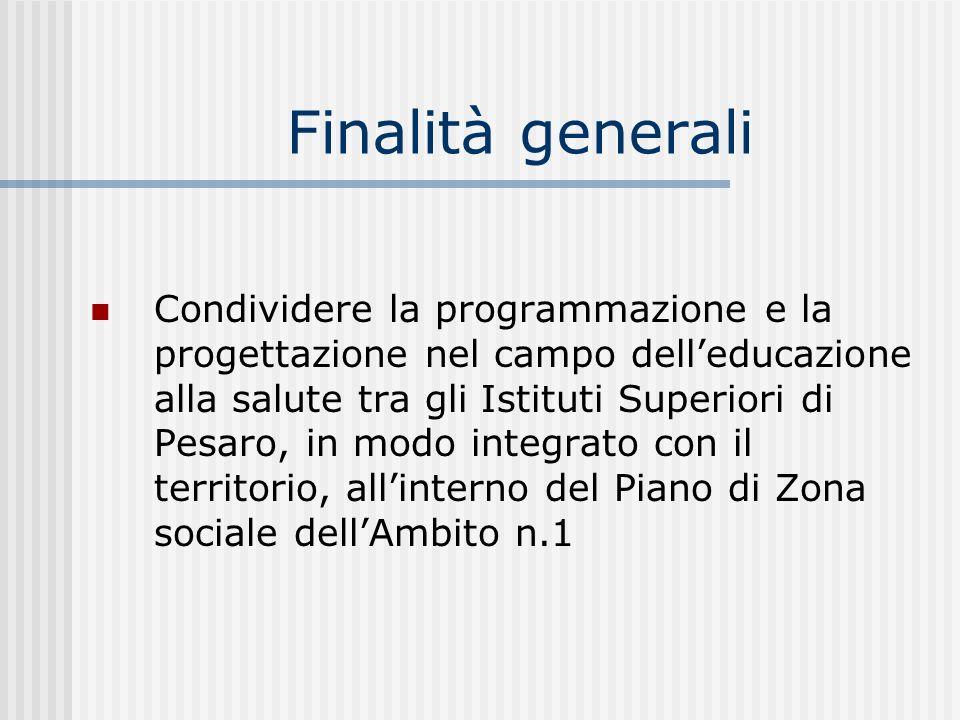 Finalità generali Condividere la programmazione e la progettazione nel campo delleducazione alla salute tra gli Istituti Superiori di Pesaro, in modo