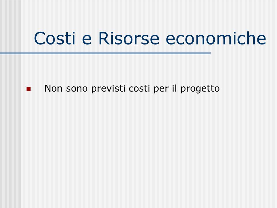 Costi e Risorse economiche Non sono previsti costi per il progetto