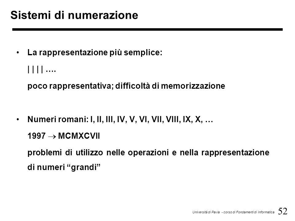 52 Università di Pavia - corso di Fondamenti di Informatica Sistemi di numerazione La rappresentazione più semplice:         …. poco rappresentativa;
