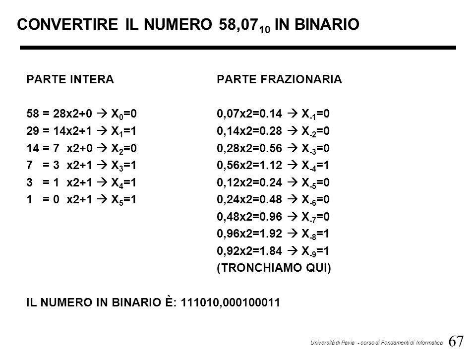 67 Università di Pavia - corso di Fondamenti di Informatica CONVERTIRE IL NUMERO 58,07 10 IN BINARIO PARTE INTERAPARTE FRAZIONARIA 58 = 28x2+0 X 0 =00