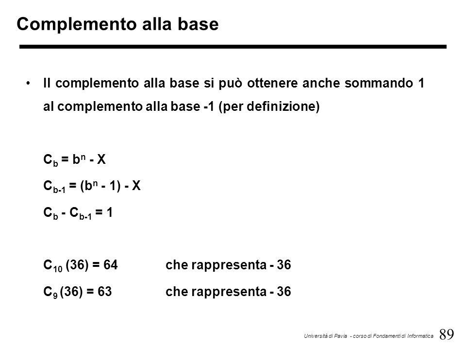 89 Università di Pavia - corso di Fondamenti di Informatica Complemento alla base Il complemento alla base si può ottenere anche sommando 1 al complem