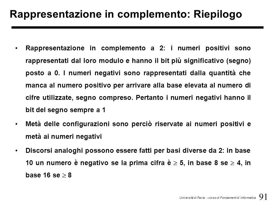 91 Università di Pavia - corso di Fondamenti di Informatica Rappresentazione in complemento: Riepilogo Rappresentazione in complemento a 2: i numeri p