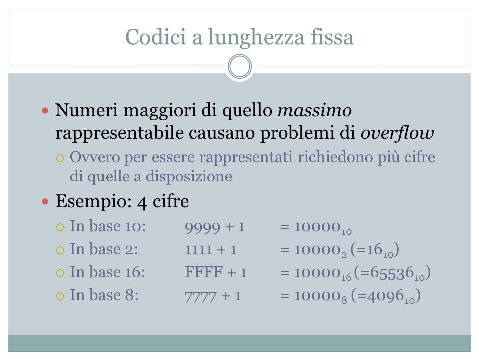 Codici a lunghezza fissa Numeri maggiori di quello massimo rappresentabile causano problemi di overflow Ovvero per essere rappresentati richiedono più