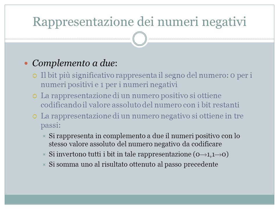 Rappresentazione dei numeri negativi Complemento a due: Il bit più significativo rappresenta il segno del numero: 0 per i numeri positivi e 1 per i nu