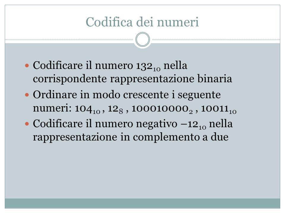 Codifica dei numeri Codificare il numero 132 10 nella corrispondente rappresentazione binaria Ordinare in modo crescente i seguente numeri: 104 10, 12