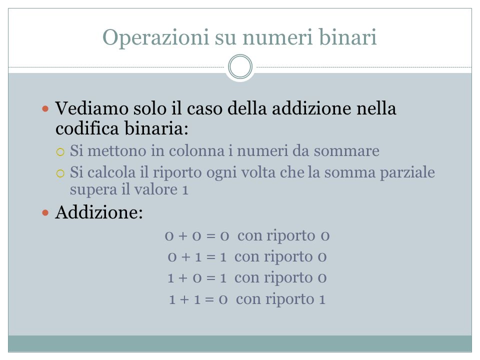 Operazioni su numeri binari Addizione: 0 + 0 = 0 con riporto 0 0 + 1 = 1 con riporto 0 1 + 0 = 1 con riporto 0 1 + 1 = 0 con riporto 1 Esempi: 1 + 1 = 1 0 1 0 1 + 1 1 = 1 0 0 0 1 0 1 1 0 1 0 1 + 1 0 0 0 1 1 0 = 1 1 1 1 1 0 1 1 1 1 1 + 1 1 = 1 0 1 0