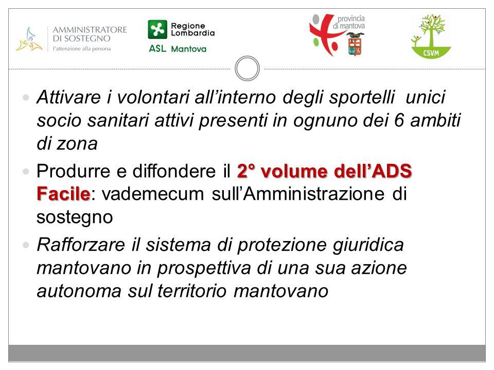 Attivare i volontari allinterno degli sportelli unici socio sanitari attivi presenti in ognuno dei 6 ambiti di zona 2° volume dellADS Facile Produrre