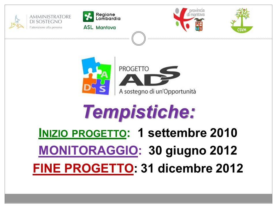 Tempistiche: I NIZIO PROGETTO : 1 settembre 2010 MONITORAGGIO: 30 giugno 2012 FINE PROGETTO: 31 dicembre 2012