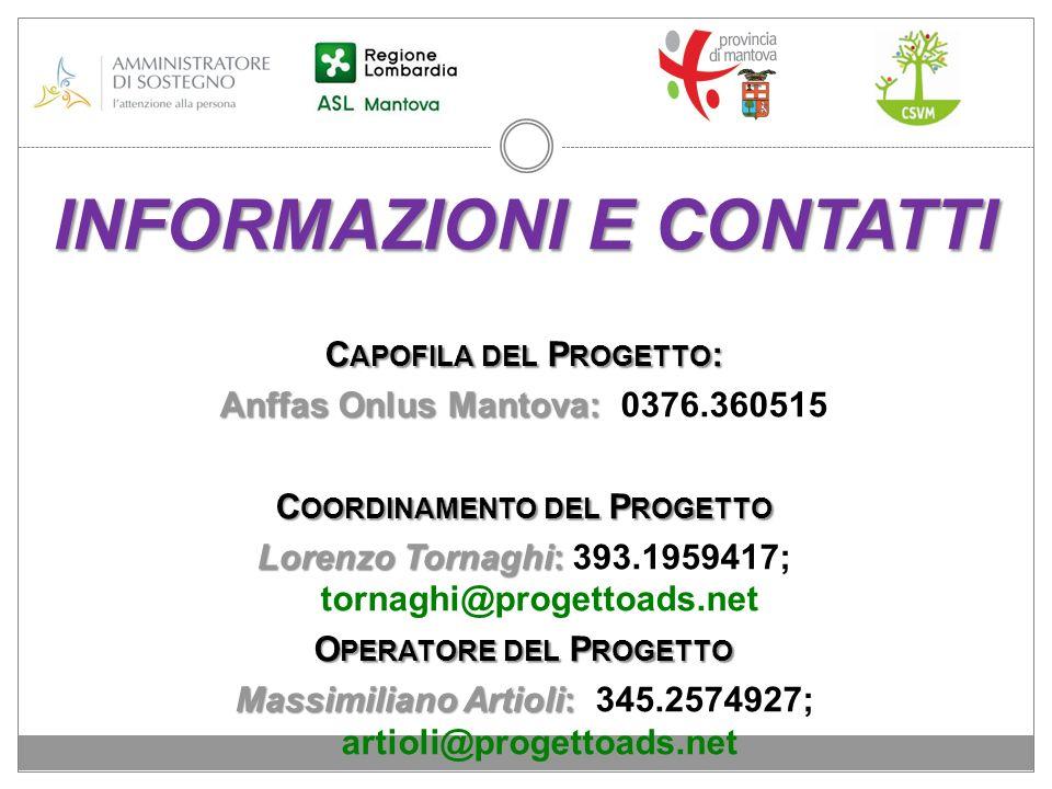 INFORMAZIONI E CONTATTI C APOFILA DEL P ROGETTO : Anffas Onlus Mantova: Anffas Onlus Mantova: 0376.360515 C OORDINAMENTO DEL P ROGETTO Lorenzo Tornagh