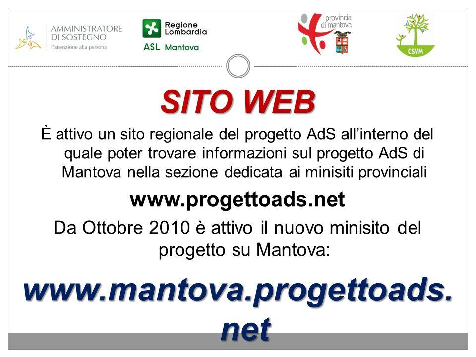 SITO WEB È attivo un sito regionale del progetto AdS allinterno del quale poter trovare informazioni sul progetto AdS di Mantova nella sezione dedicat