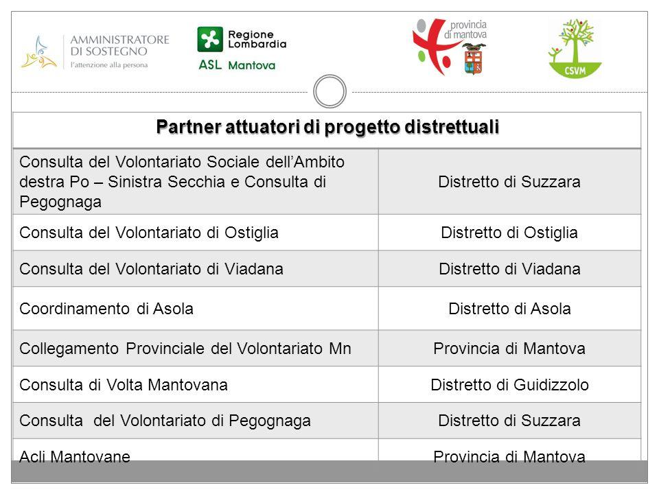 Partner attuatori di progetto distrettuali Consulta del Volontariato Sociale dellAmbito destra Po – Sinistra Secchia e Consulta di Pegognaga Distretto