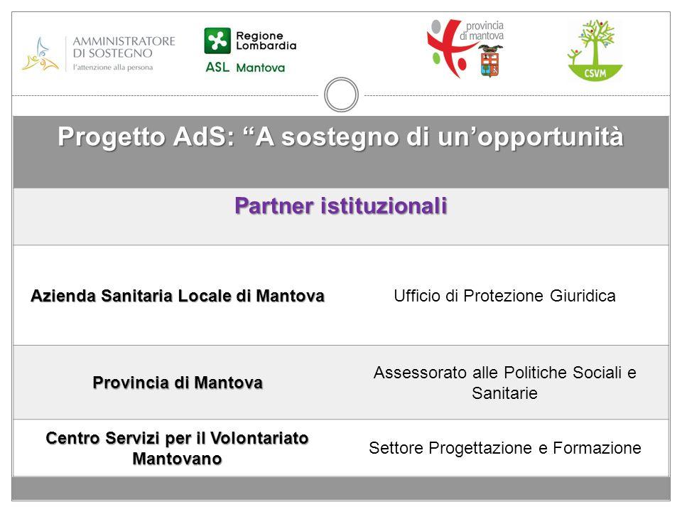 Progetto AdS: A sostegno di unopportunità Partner istituzionali Azienda Sanitaria Locale di Mantova Ufficio di Protezione Giuridica Provincia di Manto