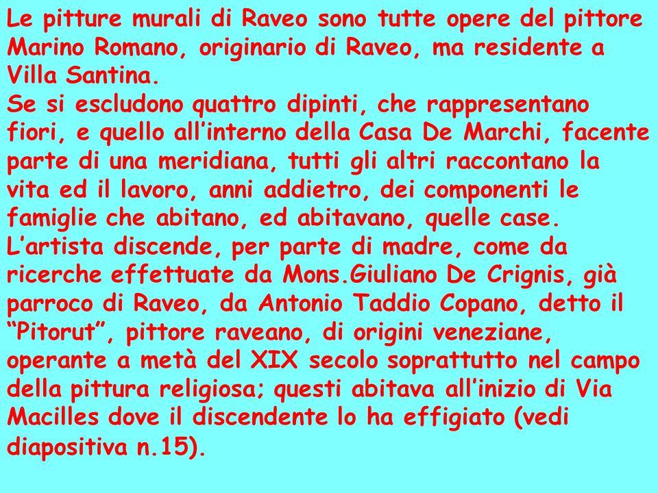 Le pitture murali di Raveo sono tutte opere del pittore Marino Romano, originario di Raveo, ma residente a Villa Santina. Se si escludono quattro dipi
