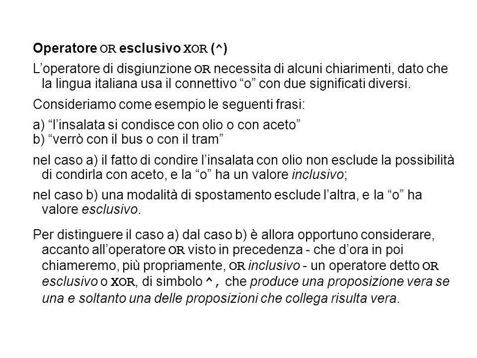 Operatore OR esclusivo XOR ( ^ ) Loperatore di disgiunzione OR necessita di alcuni chiarimenti, dato che la lingua italiana usa il connettivo o con du