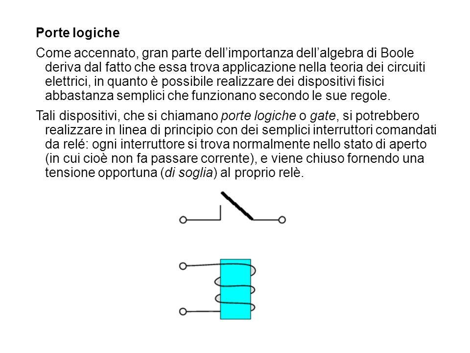 Porte logiche Come accennato, gran parte dellimportanza dellalgebra di Boole deriva dal fatto che essa trova applicazione nella teoria dei circuiti el