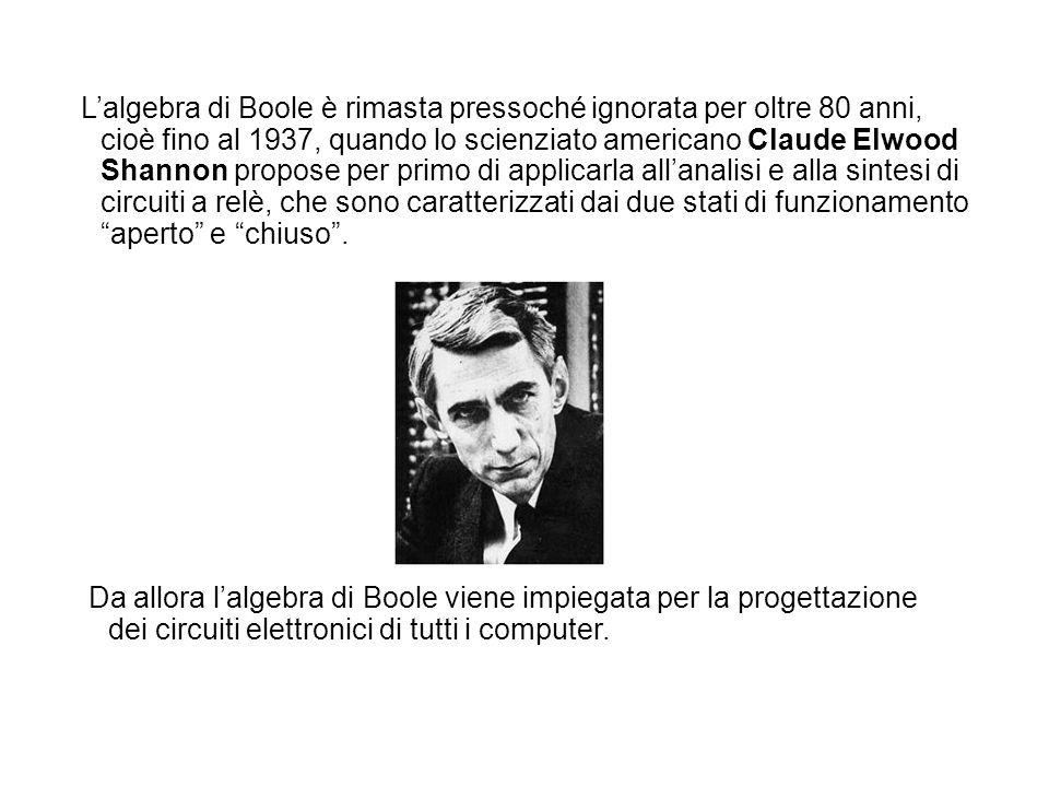 Lalgebra di Boole è rimasta pressoché ignorata per oltre 80 anni, cioè fino al 1937, quando lo scienziato americano Claude Elwood Shannon propose per