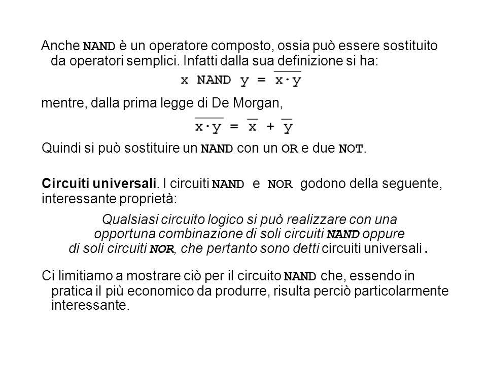 Anche NAND è un operatore composto, ossia può essere sostituito da operatori semplici. Infatti dalla sua definizione si ha: mentre, dalla prima legge