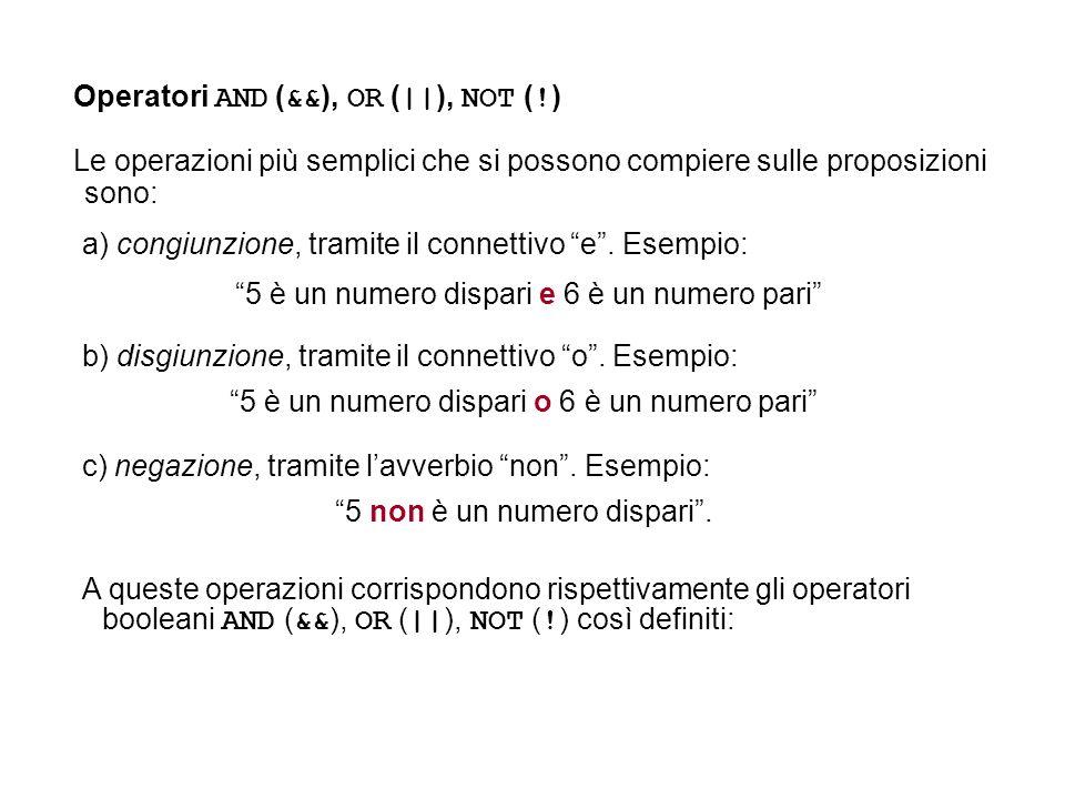 Operatori AND ( && ), OR ( || ), NOT ( ! ) Le operazioni più semplici che si possono compiere sulle proposizioni sono: a) congiunzione, tramite il con